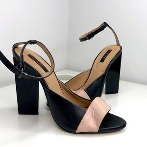 Zara sandals triangle heel sz 39
